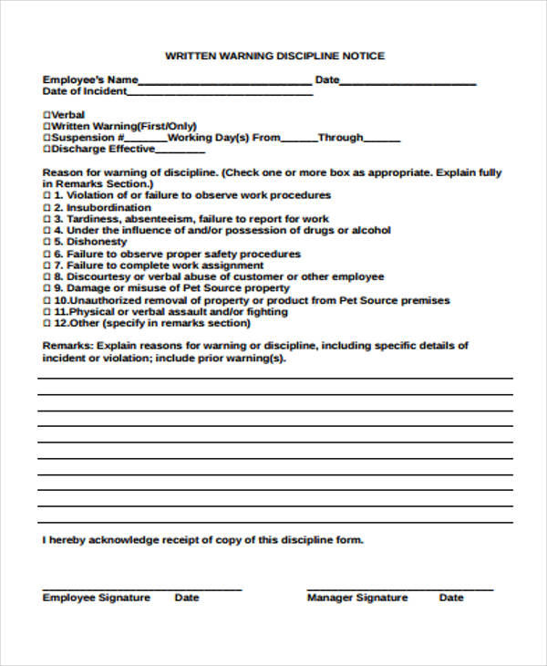 Employee Notice Form  WowcircleTk