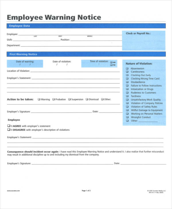 employee warning notice format pdf