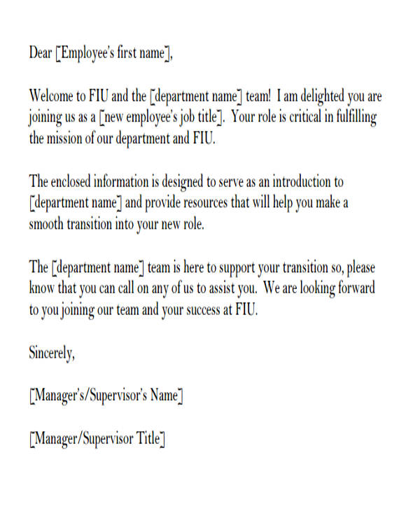 employee welcome introduction letter