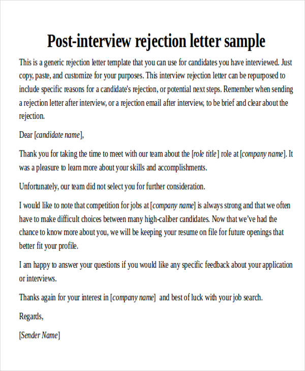 40 sample interview thank you letters sample templates employer interview rejection thank you letter expocarfo