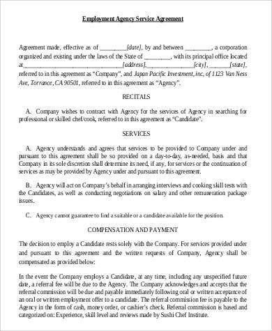 employment agency service agreement