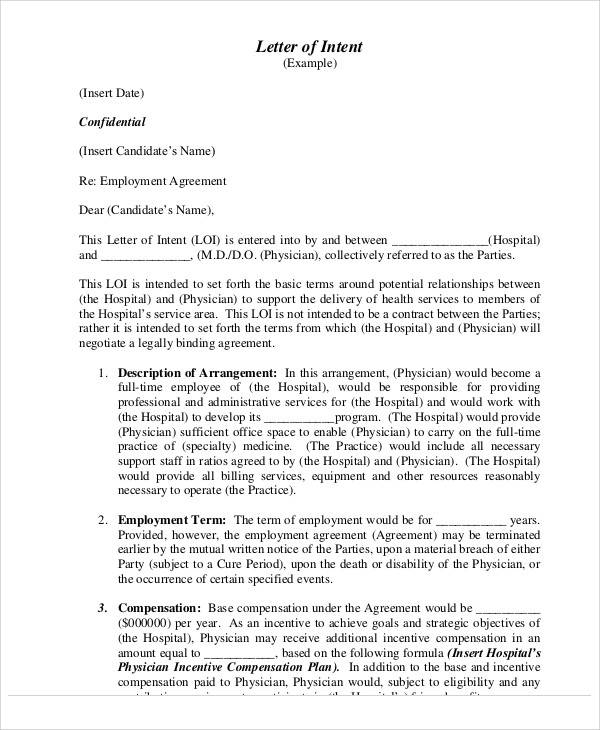 Employment Letters – Physician Employment Agreement