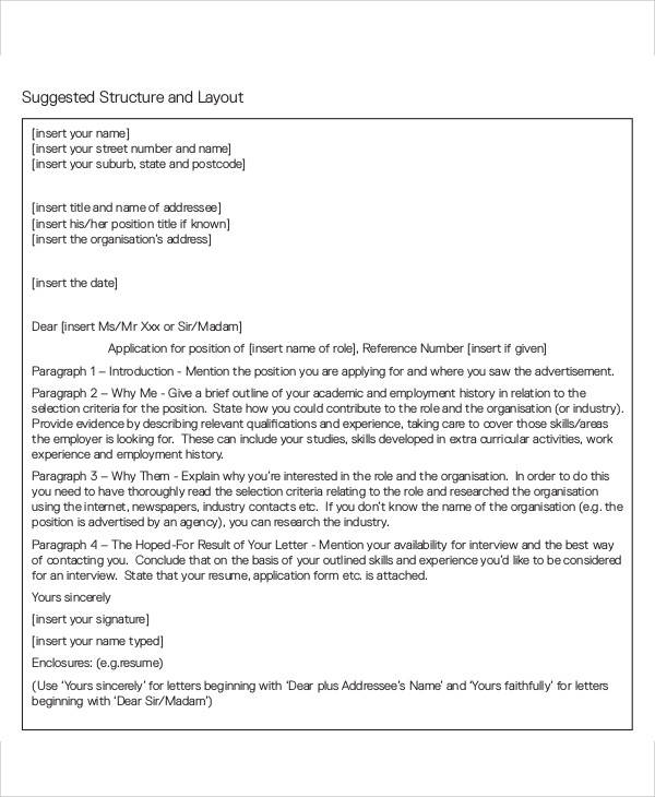 employment application cover letter format