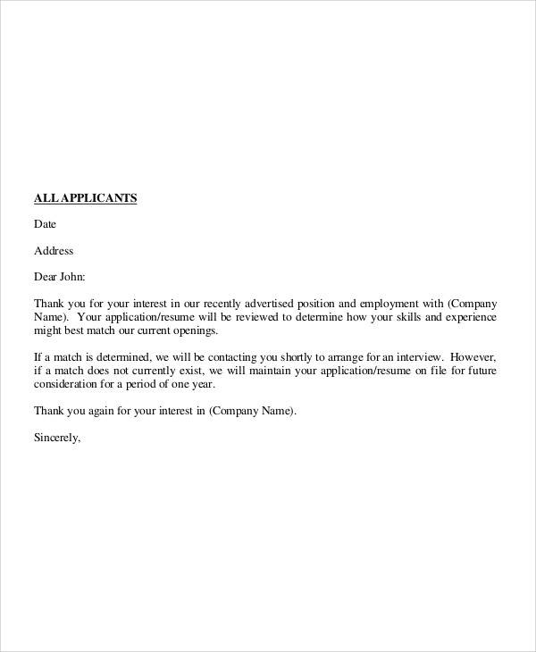 employment application rejection letter