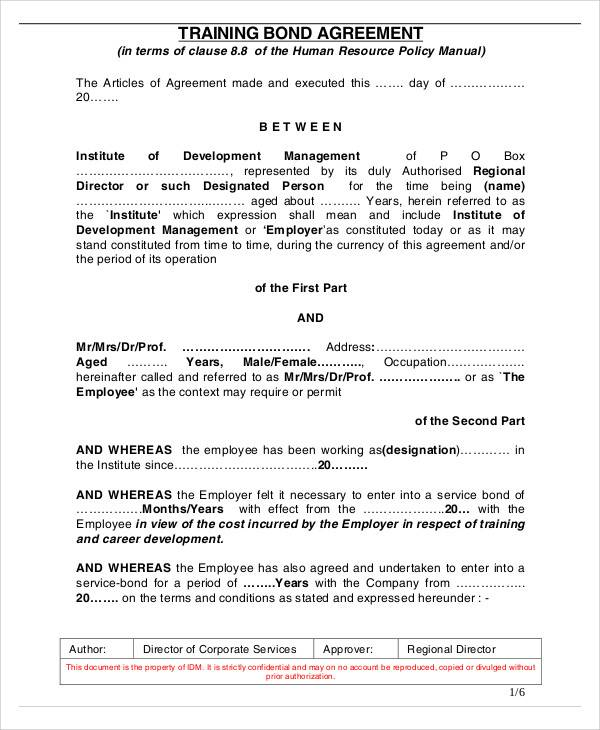 employment bond agreement letter
