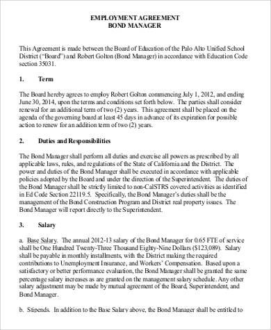 employment bond manager agreement