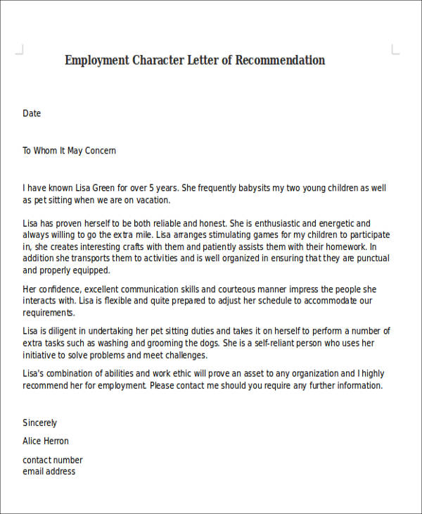 employment character letter of recommendation
