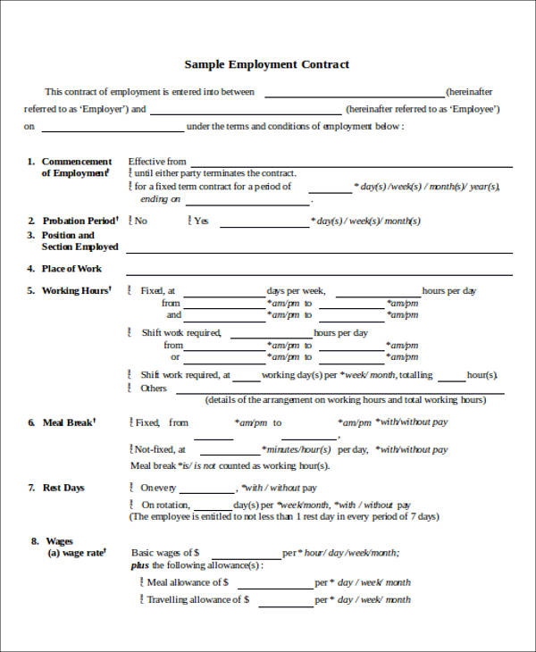 employment contract agreement form1