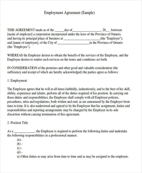 employment contract agreement letter