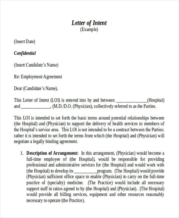Employment Contract Letter Of Intent  Letter Of Intent Template Job