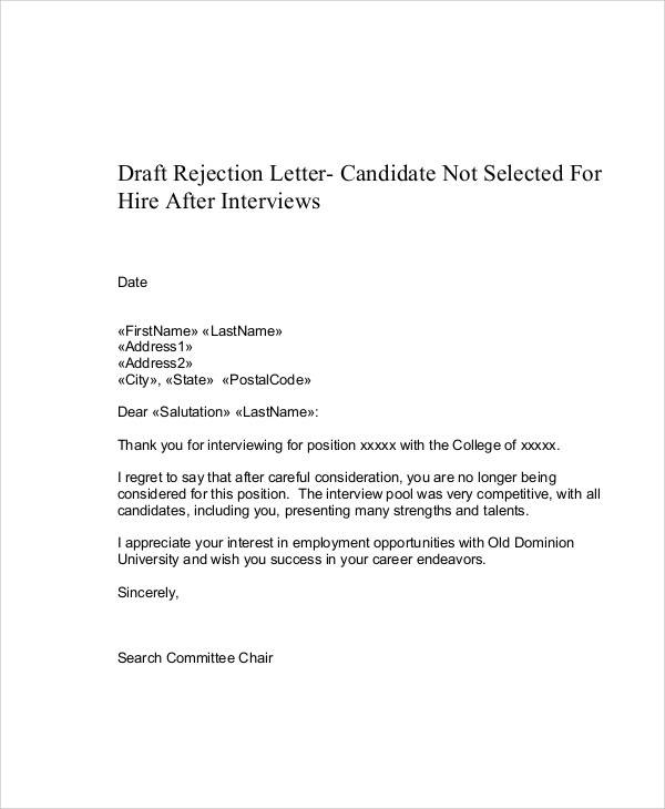 employment interview rejection letter