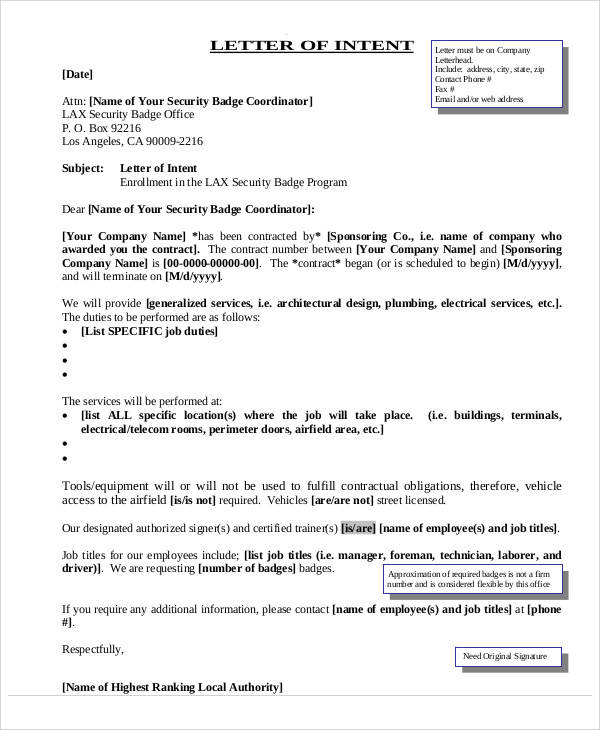 employment letter of intent example