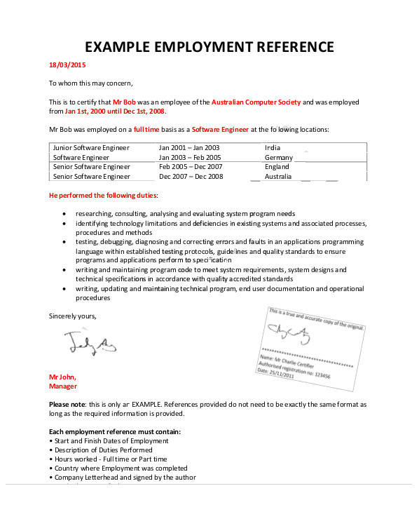 employment reference letter example