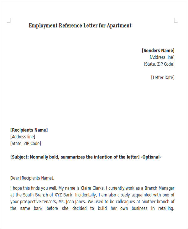 Sample Reference Letter For Apartment   Examples In Pdf Word