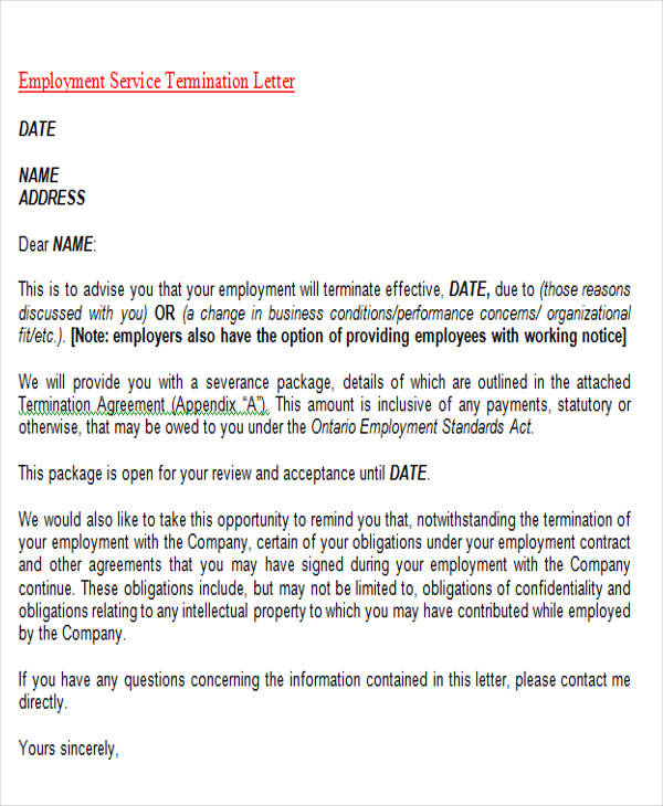 employment service termination letter