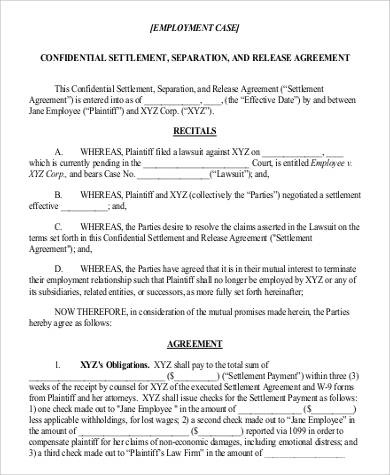 employment settlement release agreement