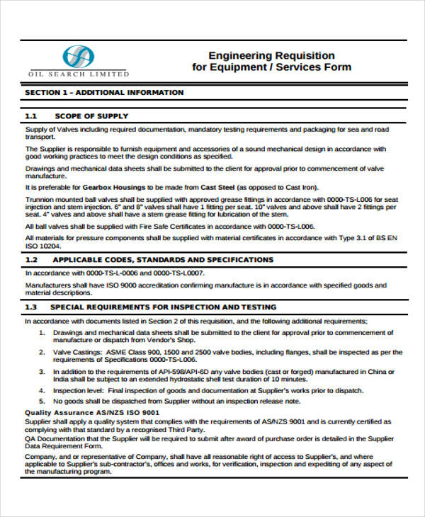 engineering equipment requisition form