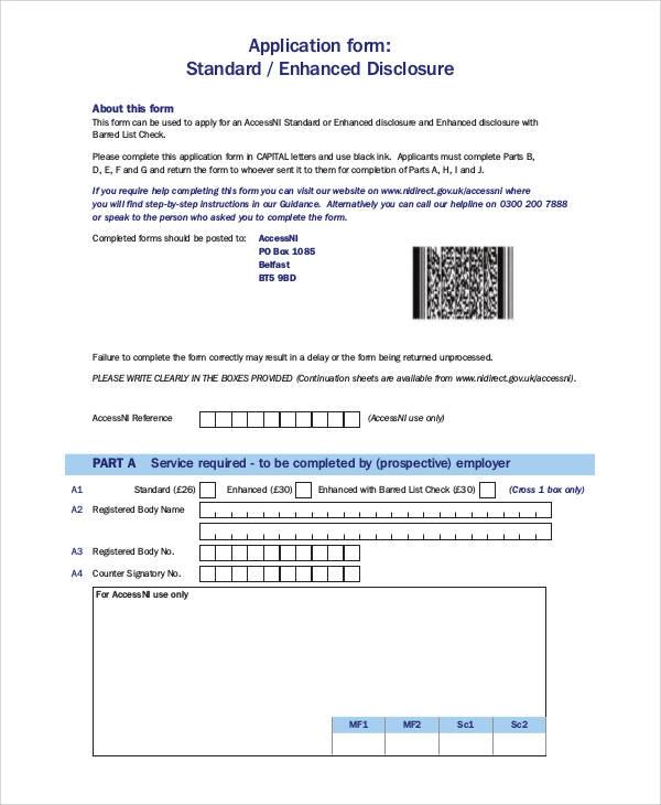 enhanced disclosure application form