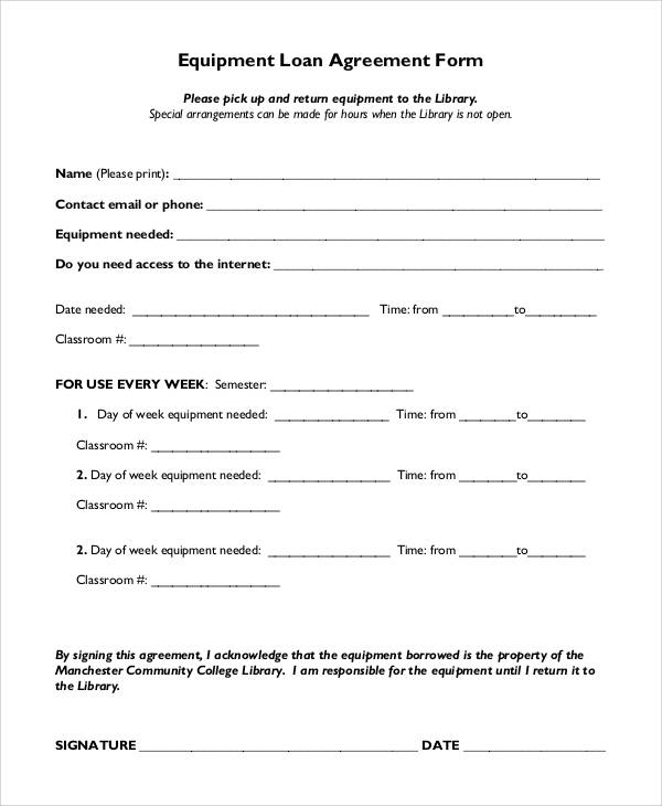 equipment loan agreement form