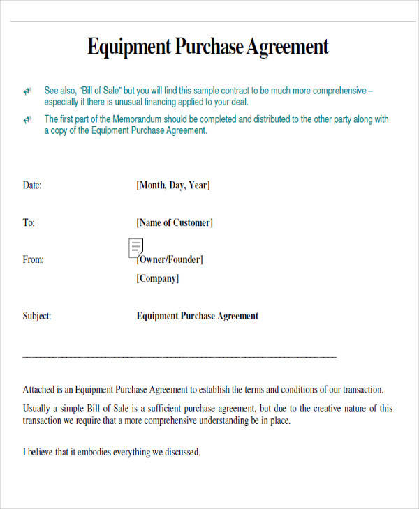 equipment purchase agreement form