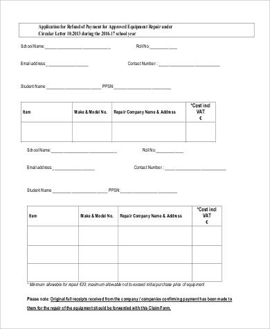 equipment repair refund application letter