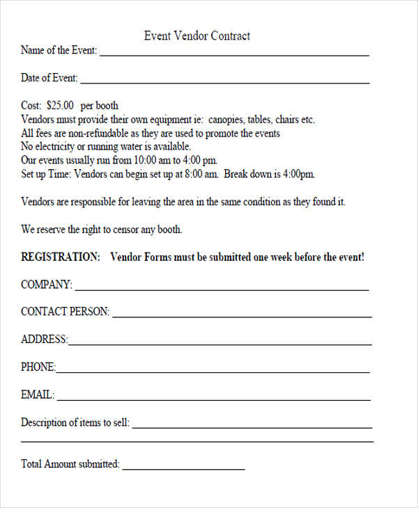 Event Vendor Agreement Template  BesikEightyCo