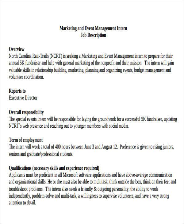 event management job description format