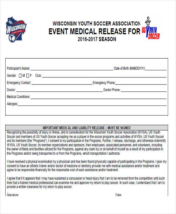 event medical release form
