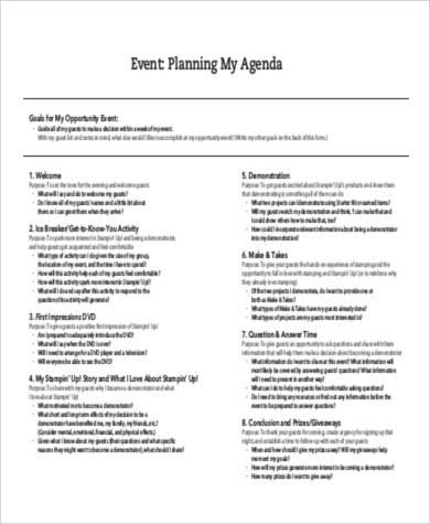 Agenda Samples in PDF
