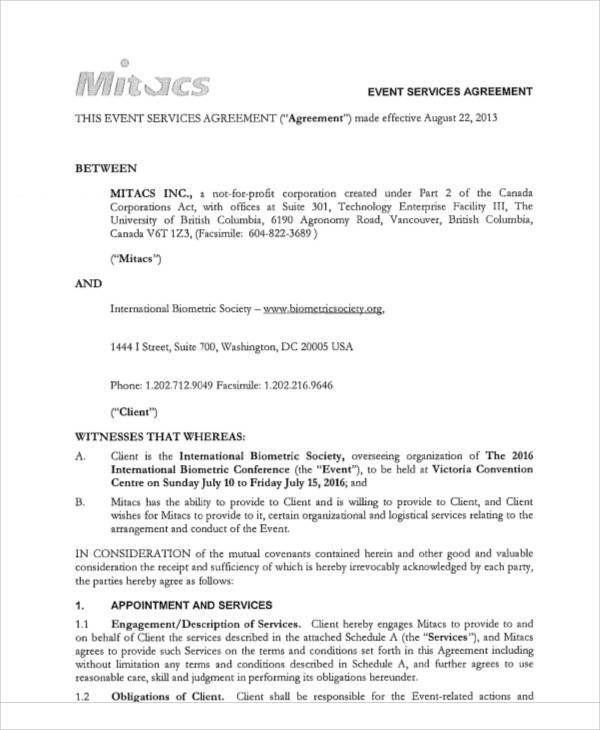 event services agreement