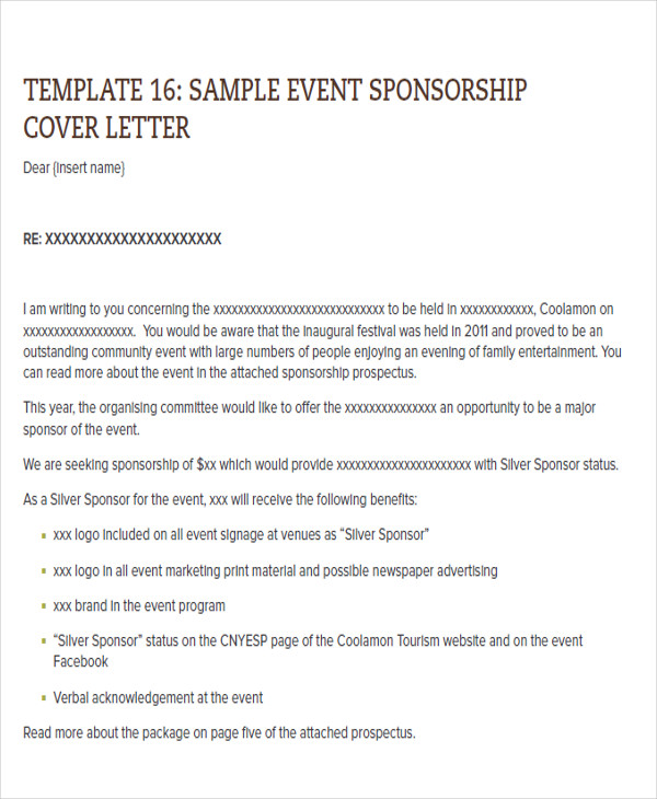cover letter for sponsorship of an event This article will give you some important tips on how to write such a sponsorship letter to cover the entire expenses needed for an event sponsorship event.