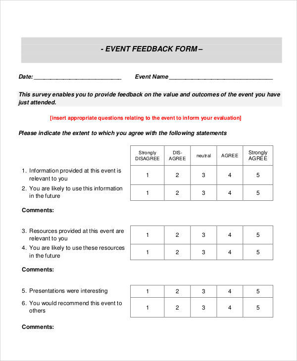 event survey feedback form