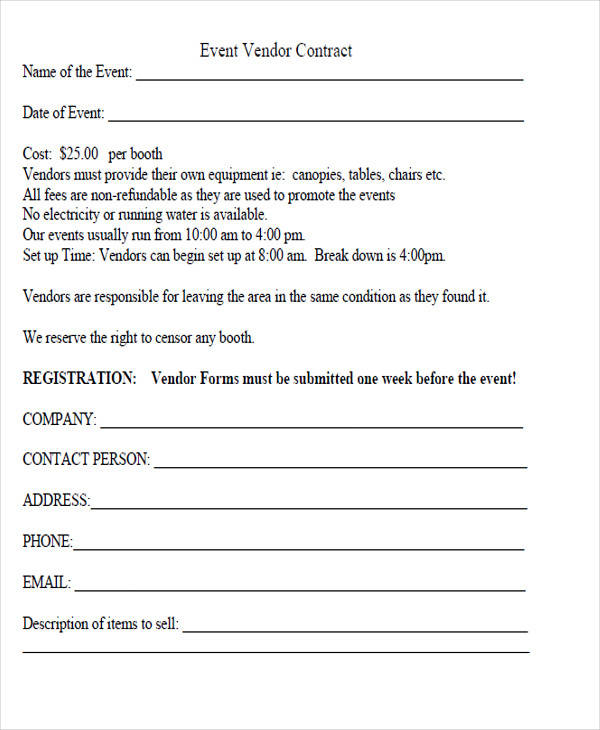 event vendor contractor agreement form
