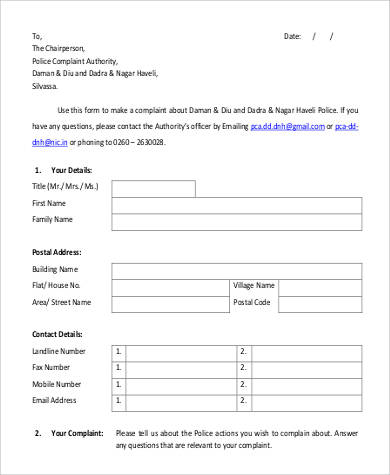 21 complaint letters in pdf sample templates example police complaint authority letter spiritdancerdesigns Gallery