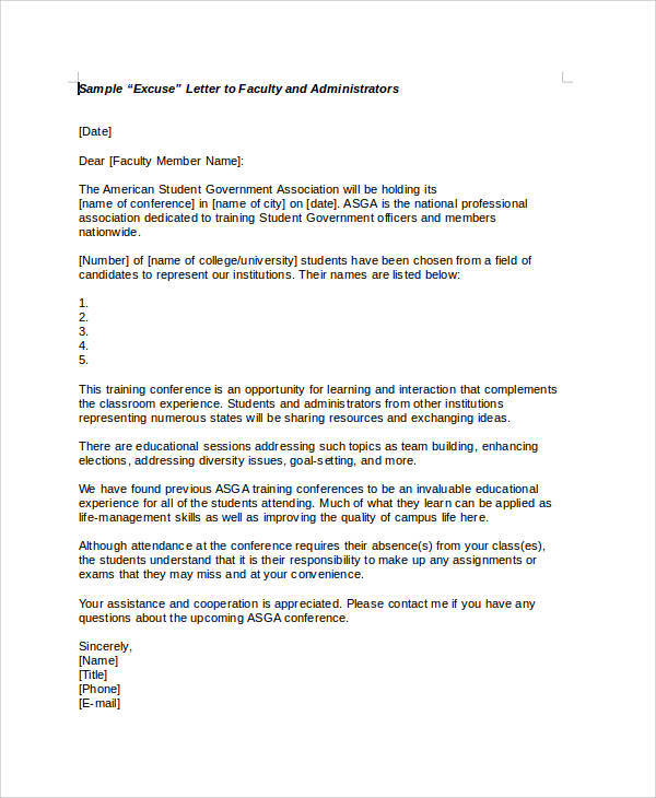 Absence From Class Letter from images.sampletemplates.com