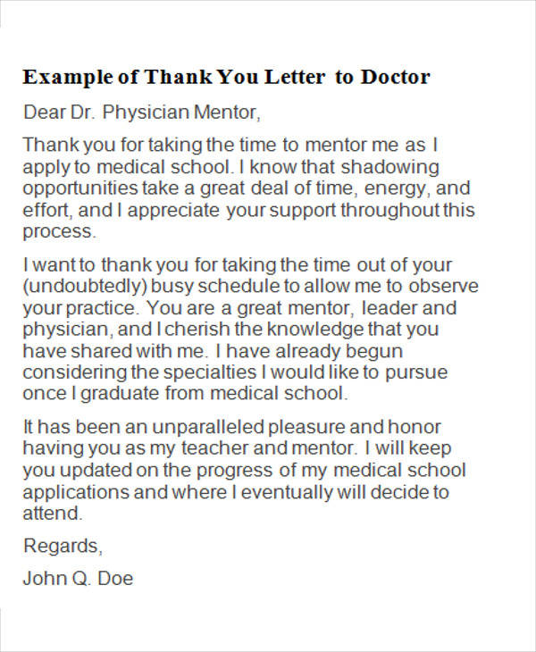 5+ Sample Thank-You Letters To Doctor - Free Sample, Example