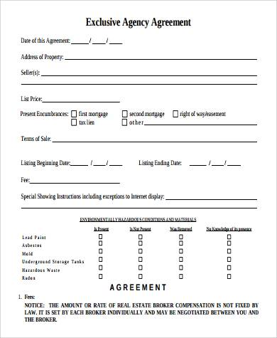 exclusive agency agreement