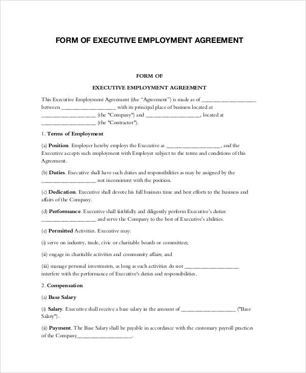 ceo employment contract template - 57 basic agreement forms sample templates