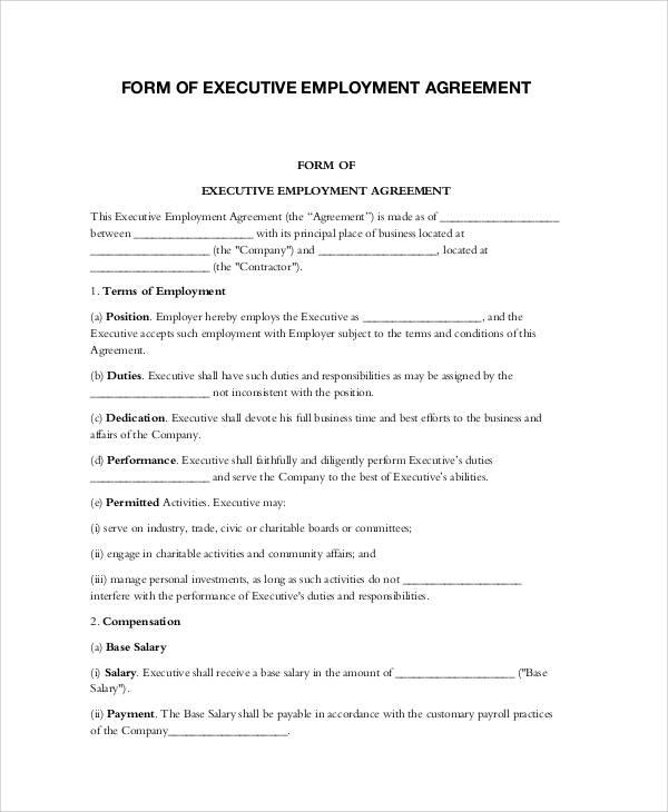 sample executive agreement