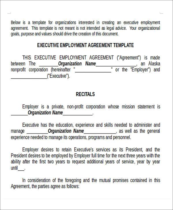 executive employment agreement form2
