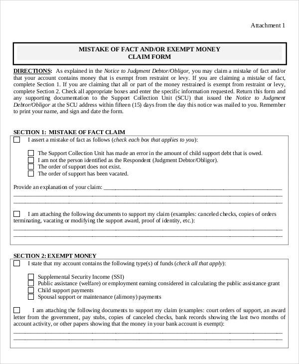 exempt money claim form