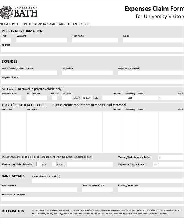 expenses tax claim form