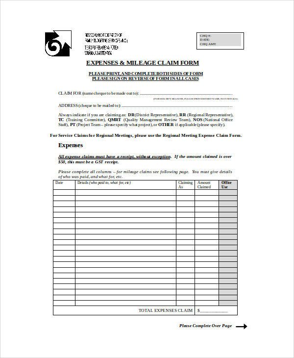 expenses and mileage claim form