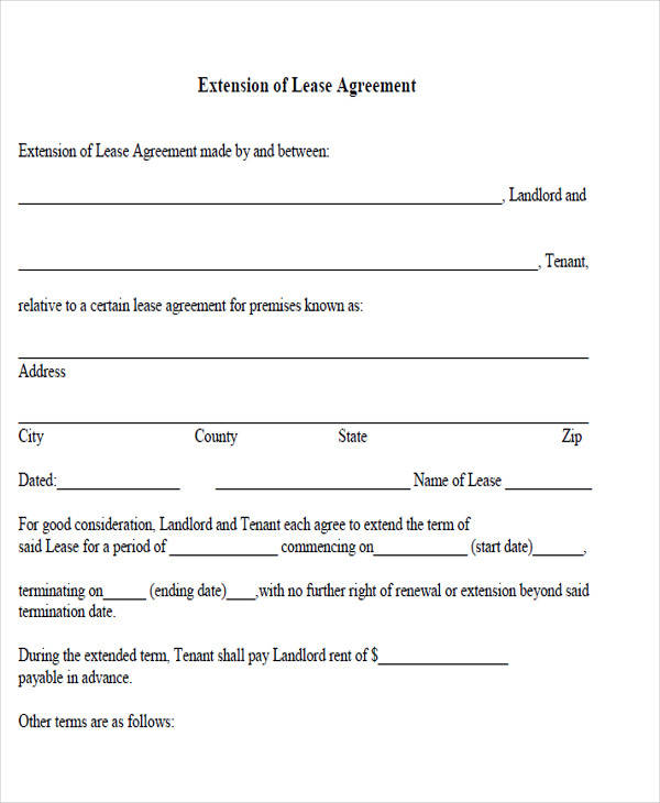 extension of lease agreement1
