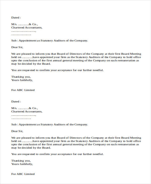 external auditor appointment letter