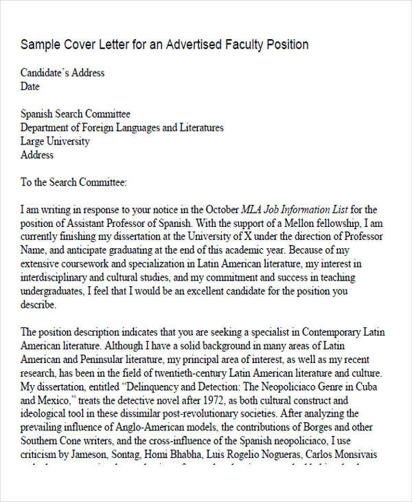 faculty job application letter of intent