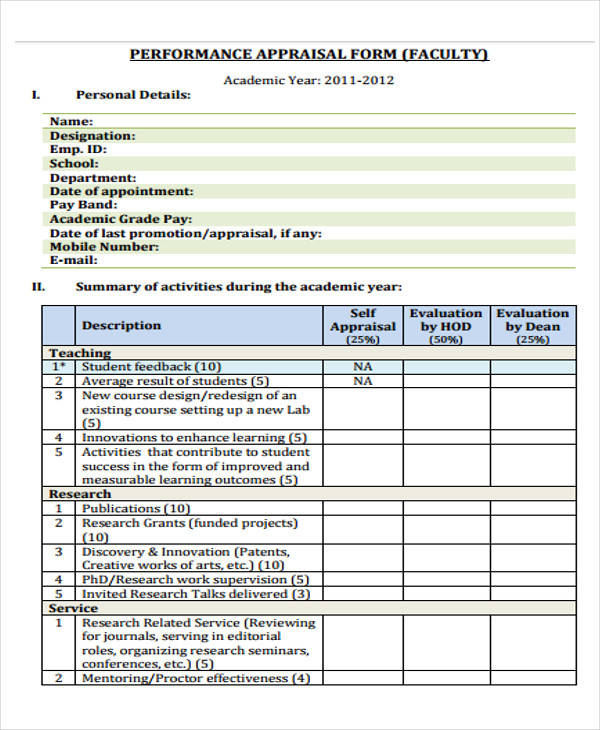 Sample Appraisal Format – Sample Appraisal Form
