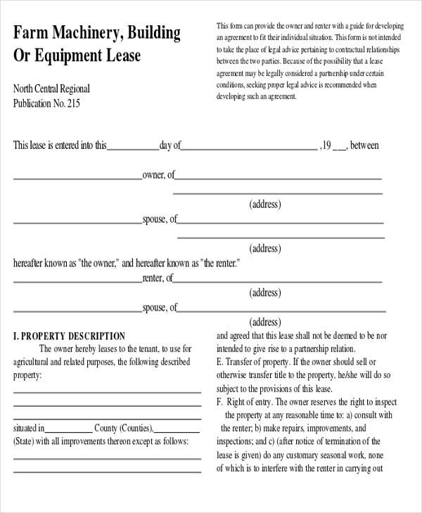 35 commercial agreement examples samples sample templates for Farm rental agreement template