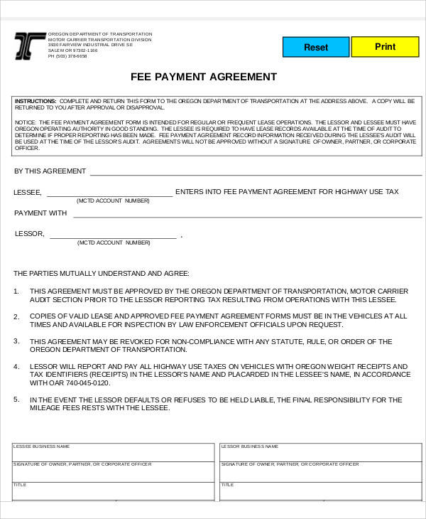 fee payment agreement