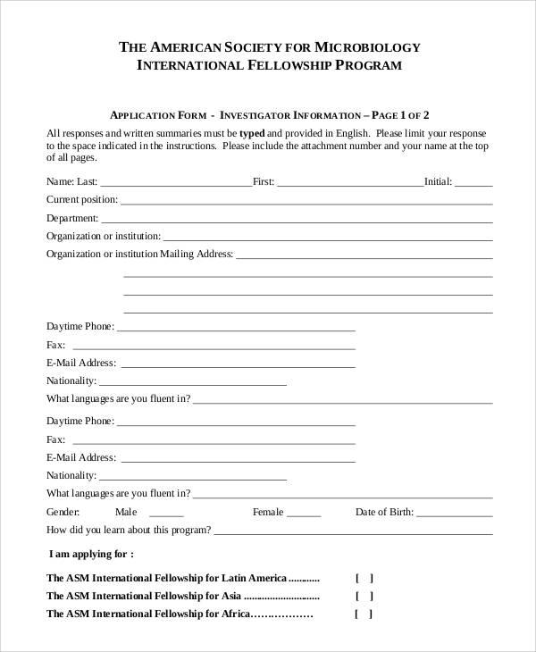 on sample application form for a arts program